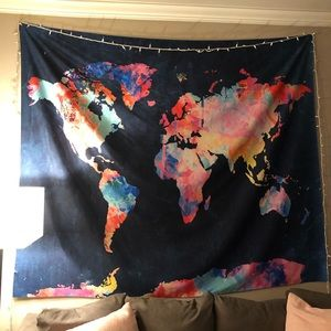Large World Map Wall Tapestry Navy Blue/Multicolor